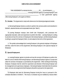 agreement between employer and employee template loan agreement template 11 free sle exle format