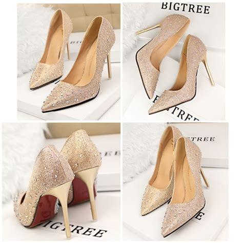 Sendal Sepatu Wanita High Heels Gold 7cm jual shh3051 gold sepatu pesta cantik 10cm grosirimpor