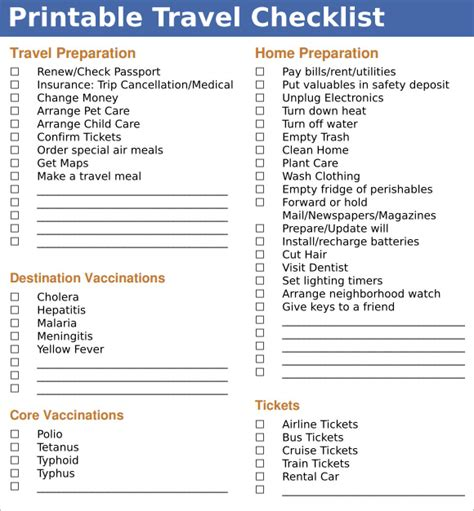 vacation checklist template sle travel checklist 8 exle format