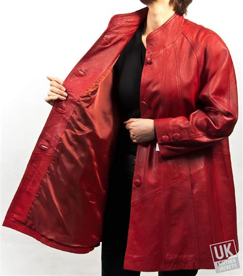 red leather swing coat womens red leather swing coat plus size delia uk lj