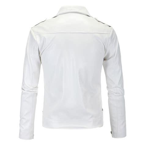 Jaket Zipper Cloud 9 Putih s white zipper turn collar faux leather slim jacket