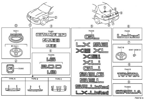 Toyota Corolla Interior Parts by Toyota Corollaae101l Aehdu Emblem Name Plate Exterior Interior Japan Parts Eu