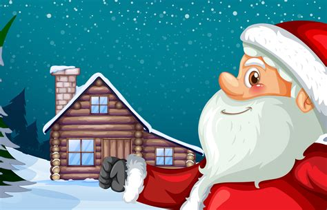 santa claus  winter hut background   vector art stock graphics images