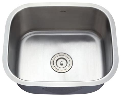 single bowl kitchen sinks kraus kbu11 20 inch undermount single bowl 16 gauge