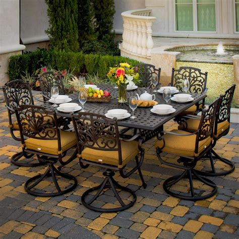 Evangeline 8 Person Cast Aluminum Patio Dining Set 8 Person Patio Dining Set