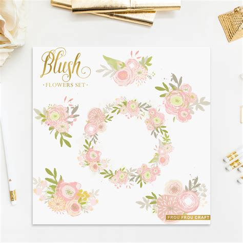 Wedding Clip Usa by Blush Pink Flowers Clipart Intant Digital High