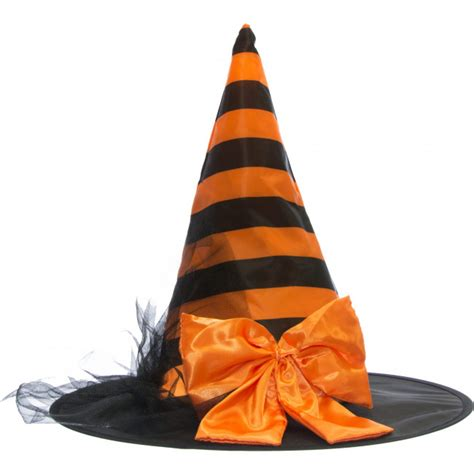 striped satin witch hat with bow orange black 25286astm craftoutlet com