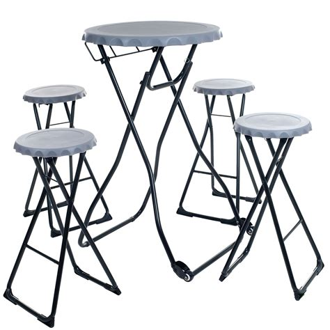 Fold Up Bar Stool Portable Fold Up Bottle Cap Stool Table Tailgate Set 5 Pieces
