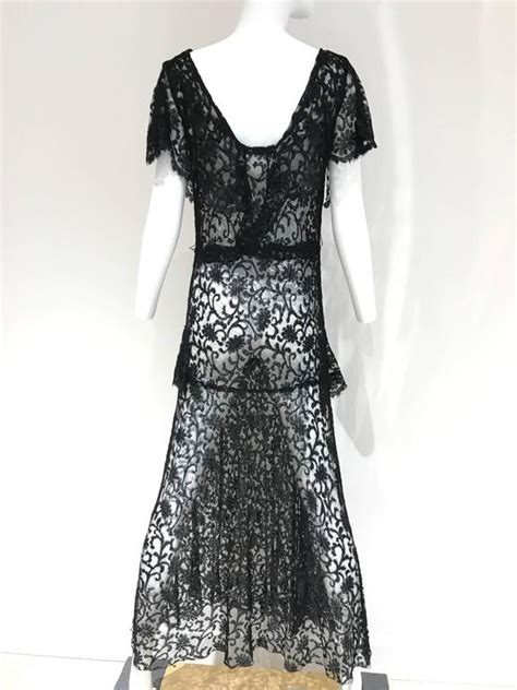 1930s black lace cocktail dress with belt for sale at 1stdibs
