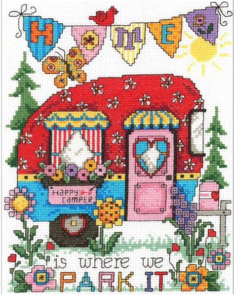 Home Is Where The Is by Happy Cer Home Is Where We Park It Cross Stitch Kit