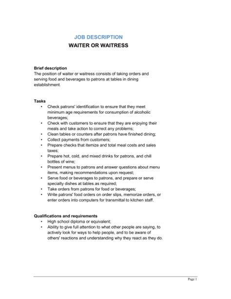 waitress description waiter and waitress description template sle