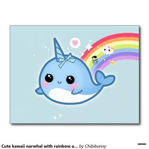 cute kawaii narwhal  rainbow  sparkle stars