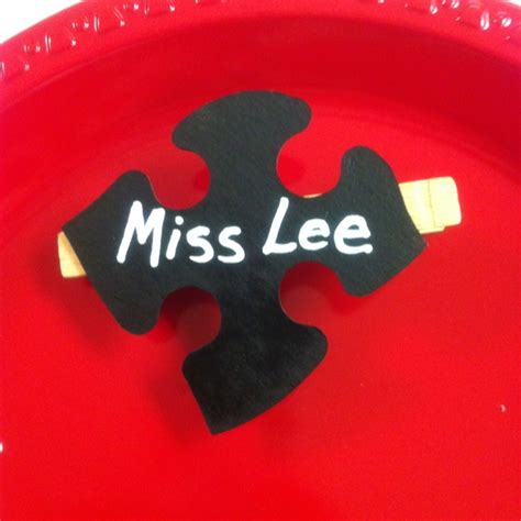 chalkboard paint name tags name tags spray paint pieces of an puzzle with