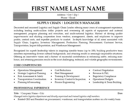 sle resume for supply chain management supply chain manager resume sle marine logistics resume