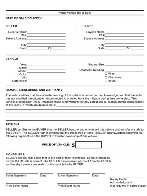 motor vehicle bill of sale form