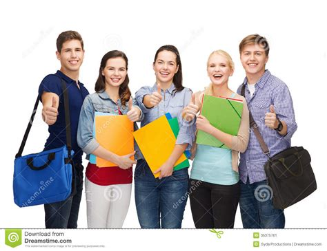 Architecture Concept by Group Of Smiling Students Showing Thumbs Up Stock Image