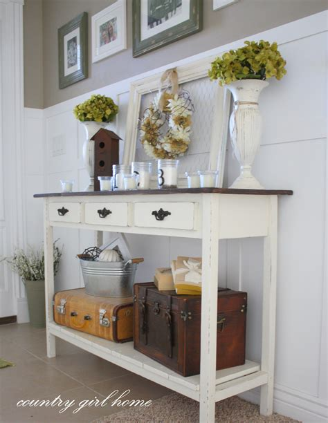 Entry Hall Table Decor | country girl home added onto my diy entry table