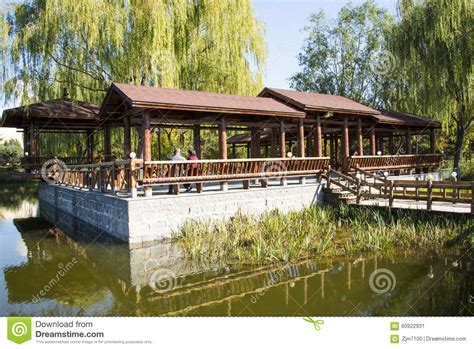garden place pavillon asia china beijing guta park wooden pavilion editorial