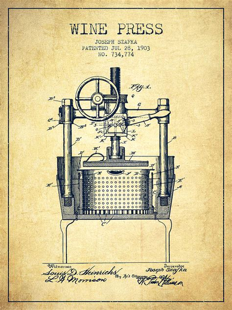 Vintage Shower Curtain 1903 Wine Press Patent Vintage Drawing By Aged Pixel