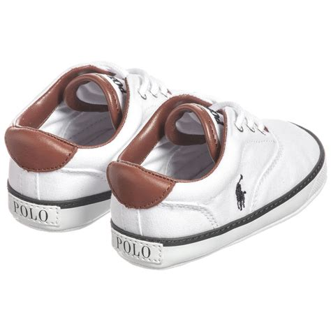 ralph baby boys white pre walker trainers
