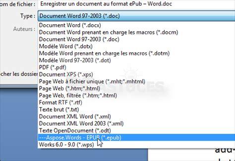 le format epub enregistrer un document au format epub word