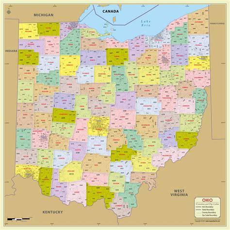 buy ohio zip code map  counties