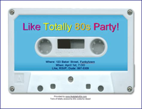 download free 80s party invitations like totally 80s