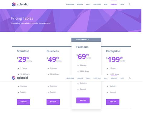enfold theme pricing table 25 wordpress themes with effective pricing tables web