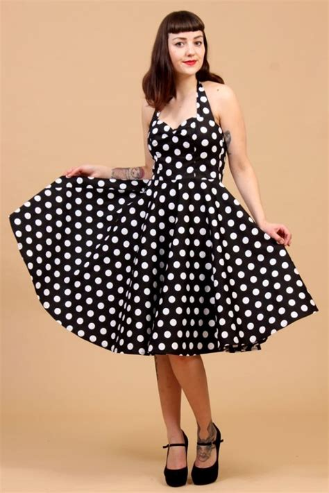 7 Vintage Looks by The 50s Classic Black Polkadot Swing Meriam Dress By Hell