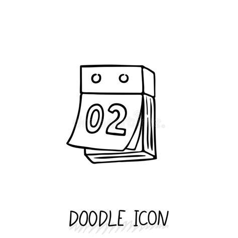 doodle calendar appointment doodle calendar icon tear calendar stock vector