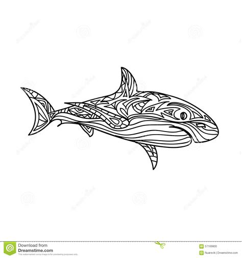 shark mandala coloring pages shark zentangle stock illustration image 57169800