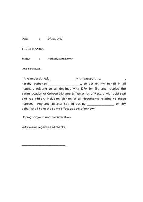 authorization letter format for dfa ribbon authorization letter dfa