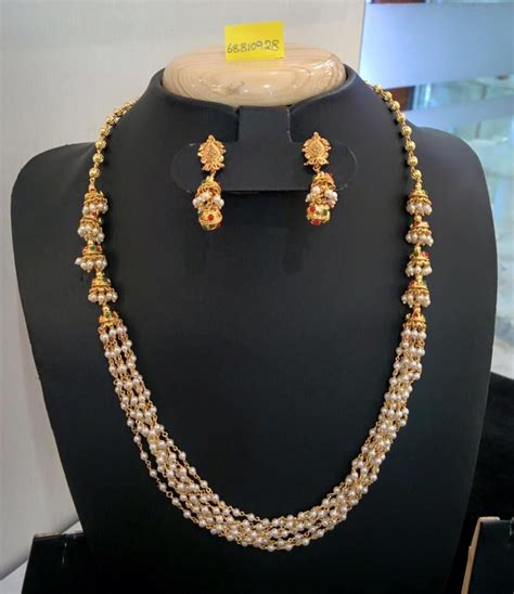 Pearl Layered Necklace multi layer pearl necklace with jhumka pearl necklace