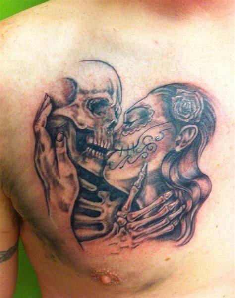 skull kissing tattoo spaghetti tattoos kirkcaldy