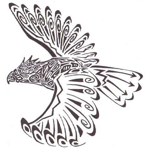 hawk tribal tattoo tribal flying hawk design