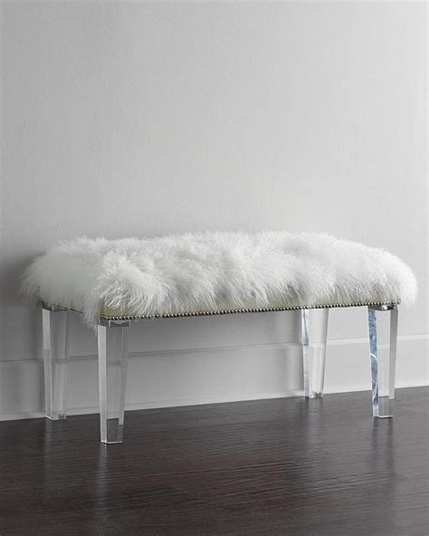 plexiglass bench massoud alala sheepskin top acrylic legs bench