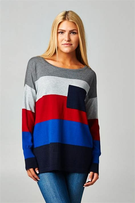 Color Block Fit Sweater stitch striped colorblock knit fit sweater