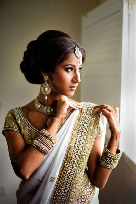 light makeup for indian wedding white ornaments and light makeup with white and golden
