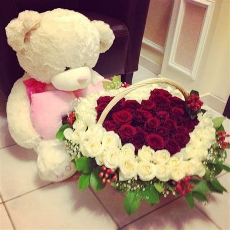 pretty flowers for valentines day big teddy and a flower basket way to start a day