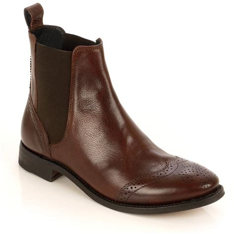 shadow brown leather flat ankle boot