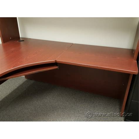 desk with overhead storage mahogany l suite single ped desk with overhead storage