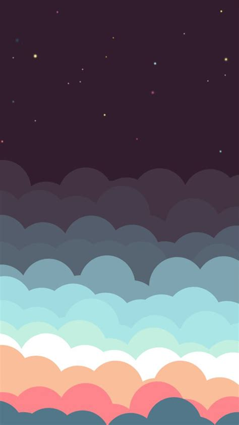 colorful clouds wallpaper colorful clouds and stars illustration iphone 5 wallpaper