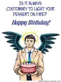 castiel birthday card by crzydemona on deviantart