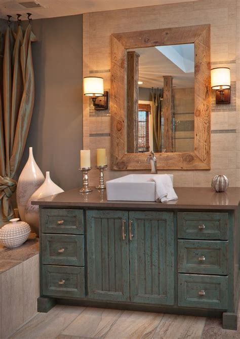 Rustic Bathroom Ideas 34 Rustic Bathroom Vanities And Cabinets For A Cozy Touch Digsdigs