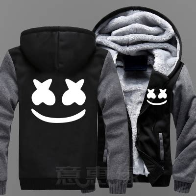 Vest Zipper Hoodie Marshmello Mellogang boocre new winter jackets and coats marshmello hoodie dj hooded thick zipper sweatshirts in