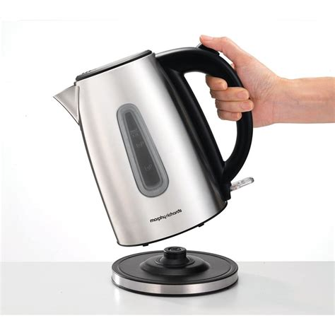stainless steel kettle morphy richards equip jug kettle brushed stainless steel morphy richards from powerhouse je uk