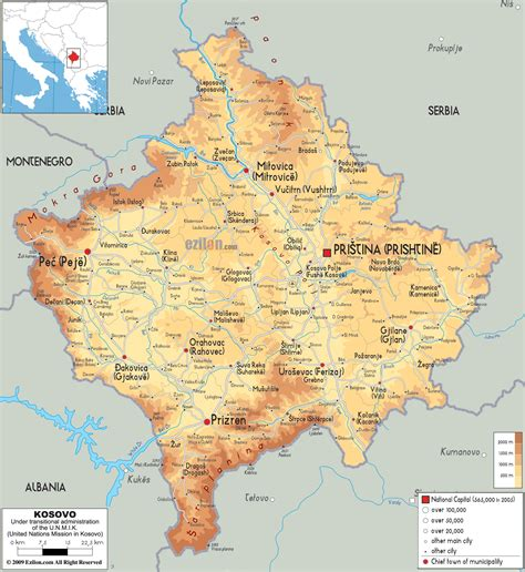 kosovo on a map physical map of kosovo ezilon maps