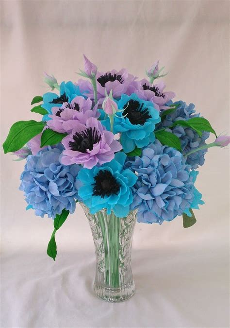 Hydrangea Paper Flower Bloombox anemone and hydrangea paper flower arrangement crepe paper flowers paper flowers
