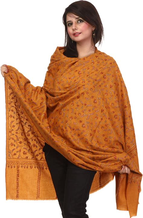 Pashmina Shawl mustard pashmina shawl from kashmir with sozni embroidered flowers all
