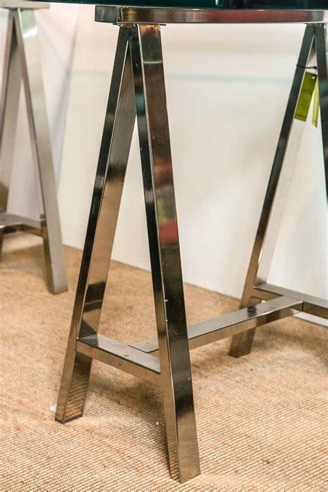 chrome sawhorse table legs chrome leg sawhorse glass top table at 1stdibs